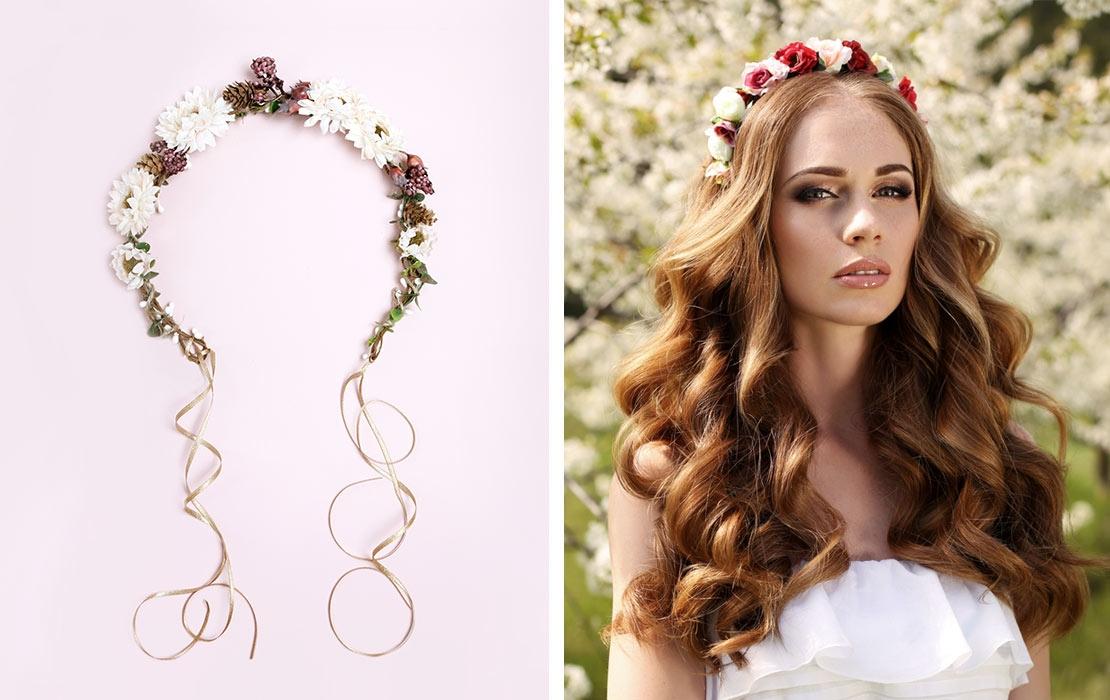 Haarbänder und Blumenkränze